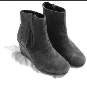 TOMS suede slate gray wedge booties